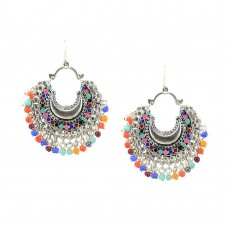 Silver Plated Chandbalis with Multicolor Pearls