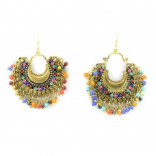 Golden Plated Chandbalis With Multicolor Pearls.