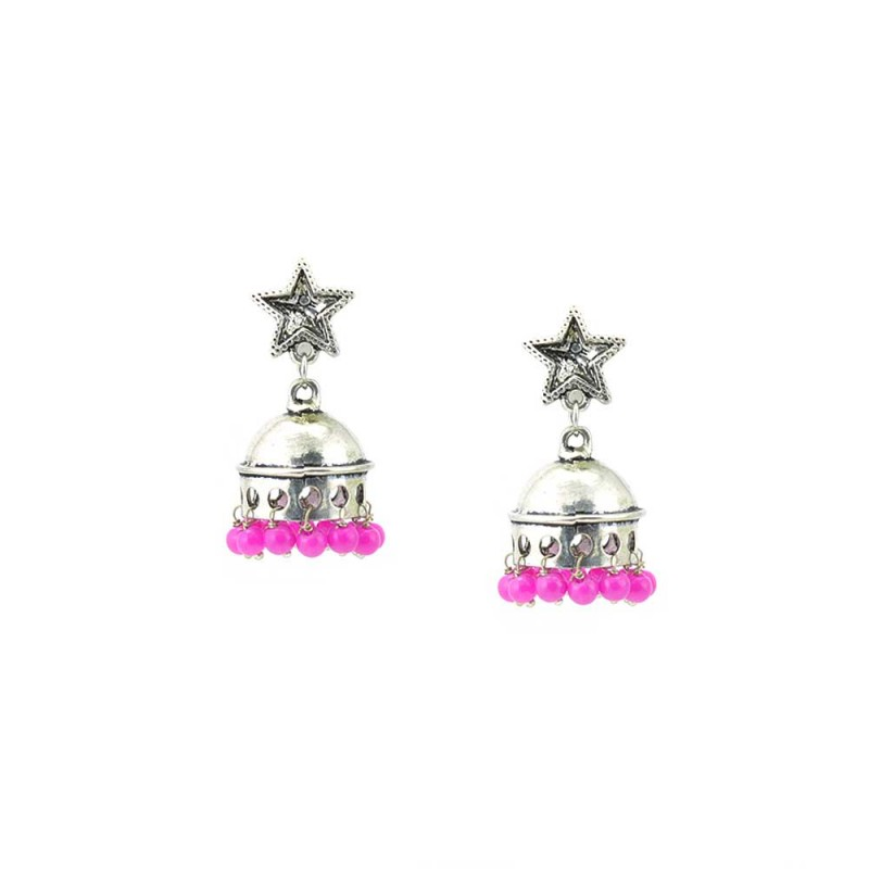 Jhumki Earrings Dangled With Pink Beads