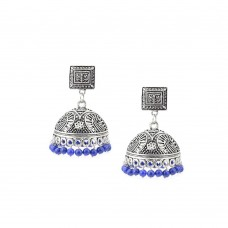 Jhumki Earrings Dangled With Blue Beads