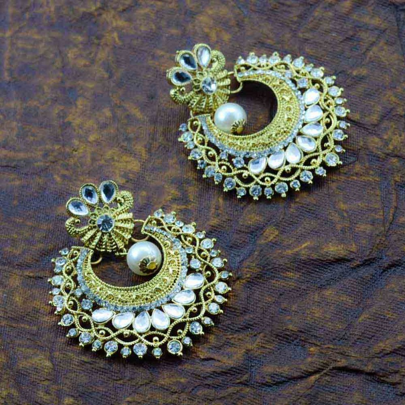 Stone Floral Design Gold Plated Earring  With Multiple Stones