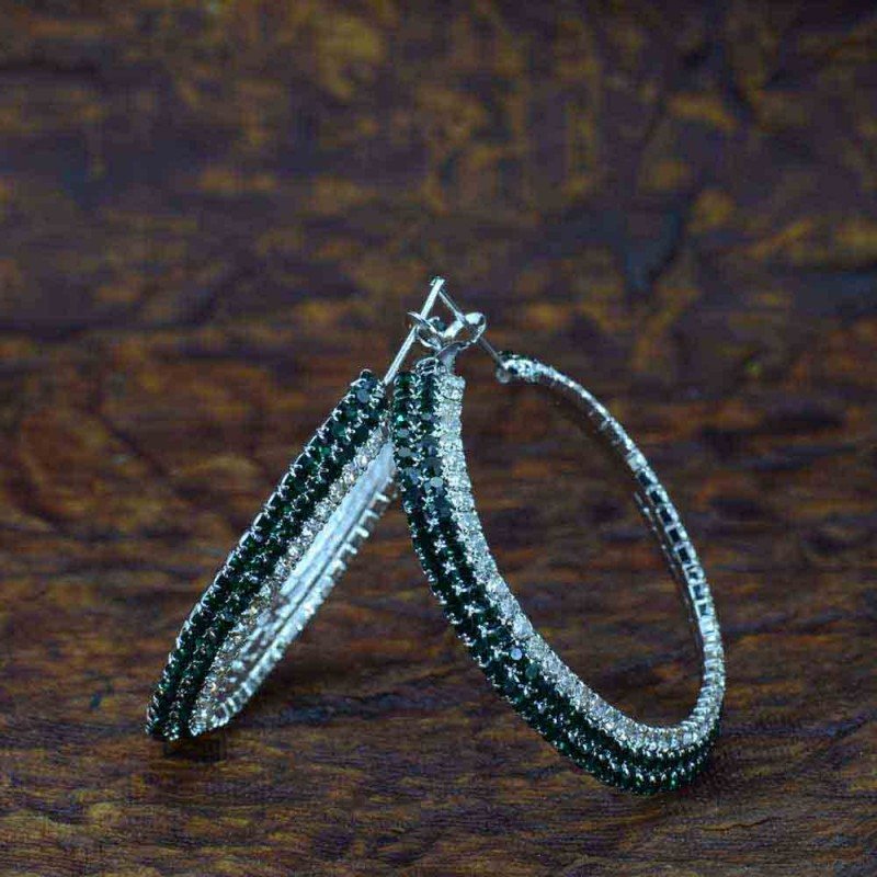 Circular Silver Plated Green Stone Hoop Earrings
