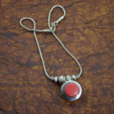 Metal Plated Chain Pendant With Red Bead