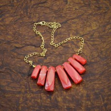 Red Beads Antique Gold Necklace