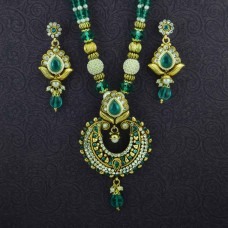 Gold Plated Green Stone Pearl Necklace Set