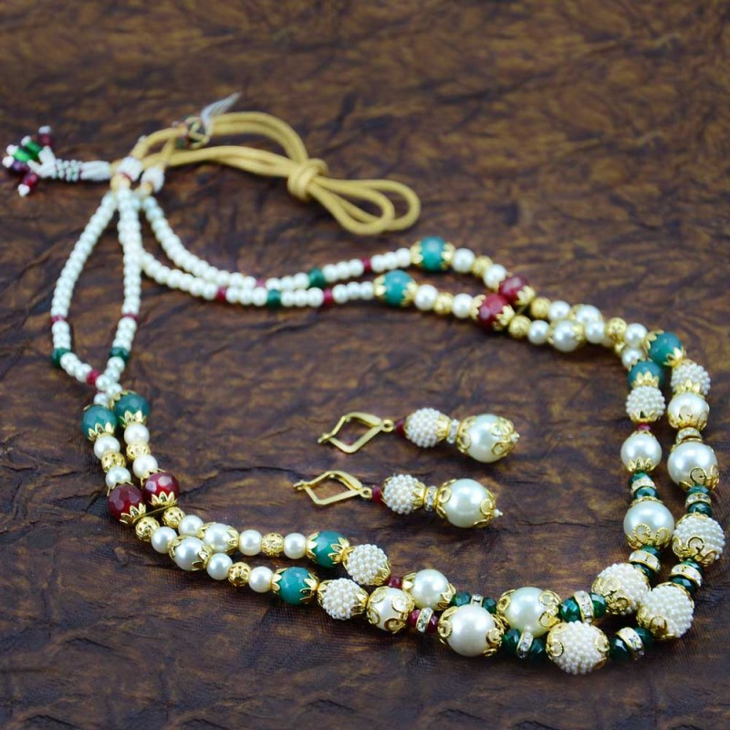 Multicolor Pearls Necklace Set With Drop Earrings