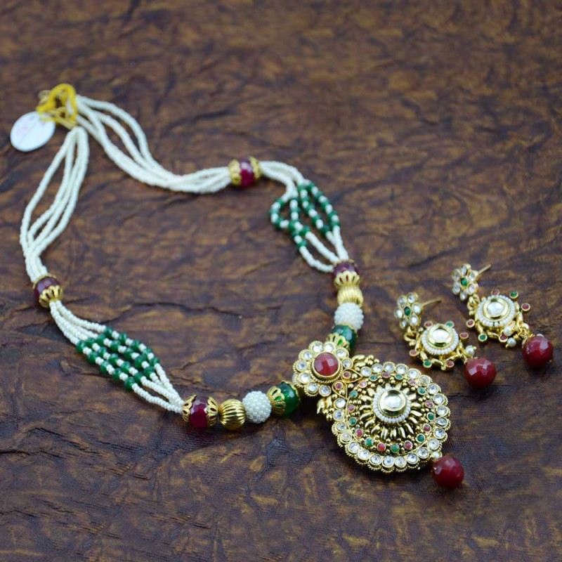 Multicolor Gold Plated Necklace Set  With Red Kundan