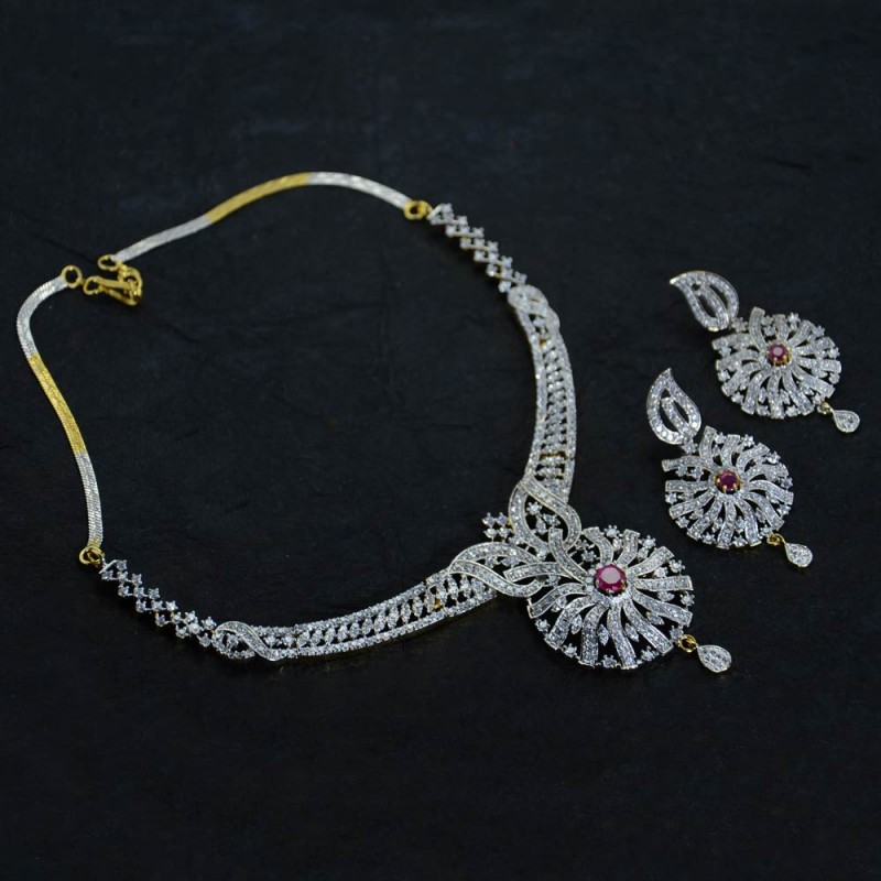 Silver Plated American Diamond Necklace Set With Pink Stone