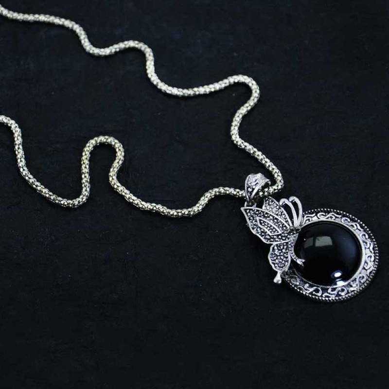 Silver Plated Butterfly Pendant With Black Stone