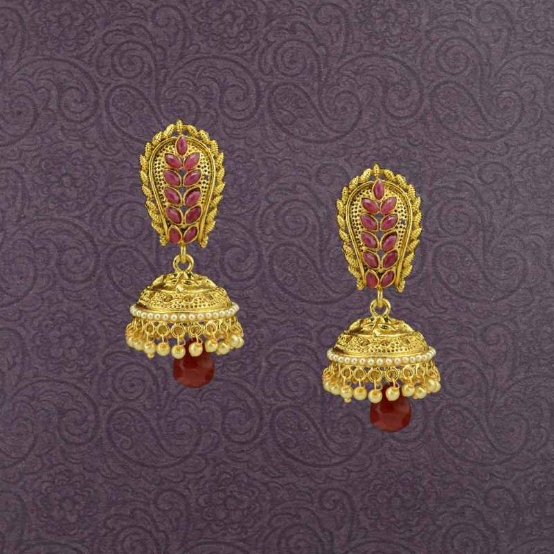 Stone & Pearl Gold Plated Jhumki Earrings