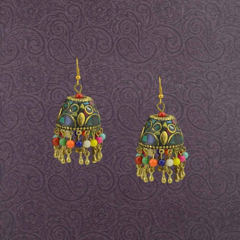 Multicolor Jhumki Earrring With Multiple Beads