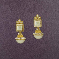 Gold Plated Jhumki Earring With White Stones