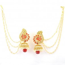 Gold Plated Three Layered Jhumki With Red Stones