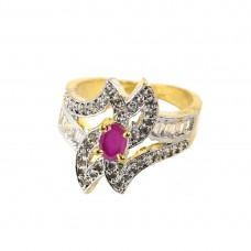 Gold Plated Ad Ring With Pink Stones