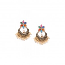Multicolor Kundan With Pearls Drop  Dangler Earrings
