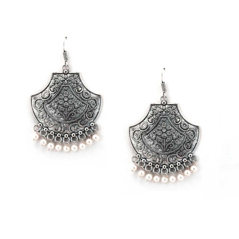 Oxidised Silver Toned Earring with Multiple Pearls