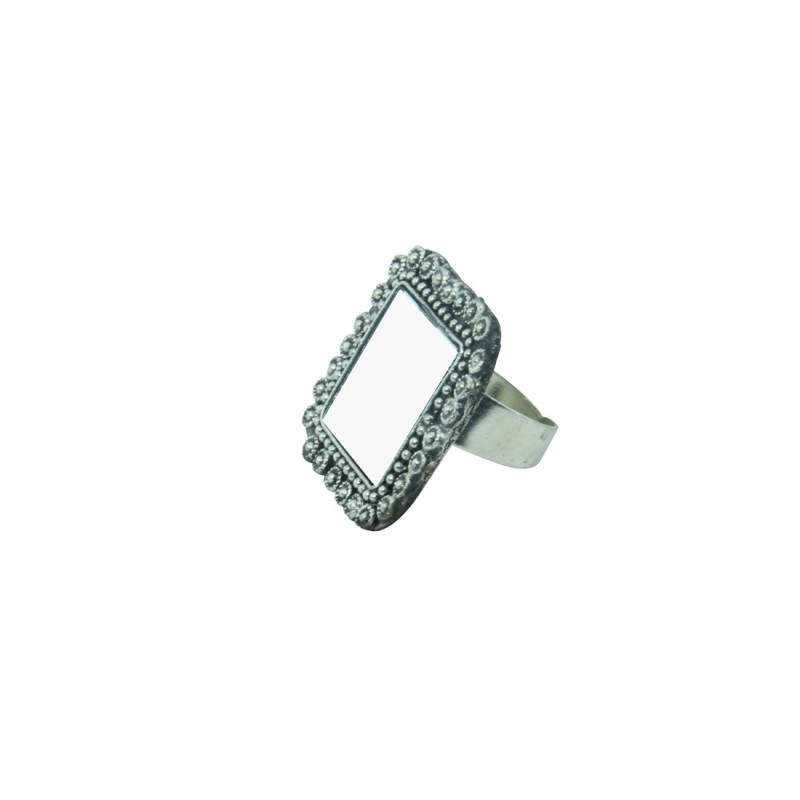 Silver Plated Ring In Square Shape