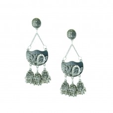 Designer Silver Plated Earring With Multiple Drop Jhumki