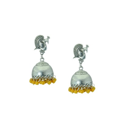 Designer Silver Plated Earring With Multiple Yellow Pearls