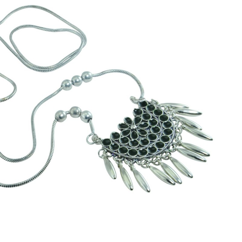Silver Plated Necklace In Black Color