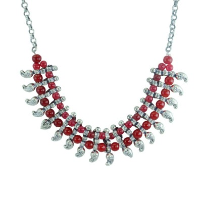 Silver Plated Designer Neckpiece With Red Pearls