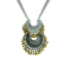 Silver Plated Pendent With Multiple Golden Pearls