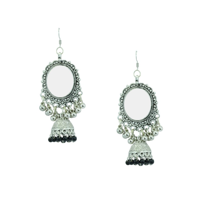 Silver Plated Jhumki Earrings In Black Color