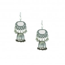Oxidized Silver Plated Earring With Multiple Black Pearls
