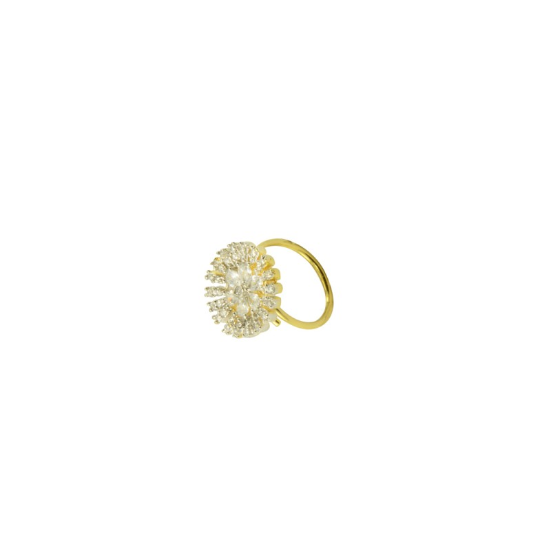 Gold Plated AD Ring In Flower Shape