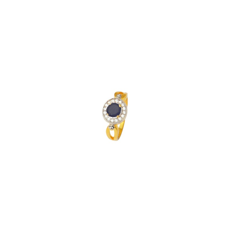 Designer Gold Plated AD Studded Ring In Blue Color