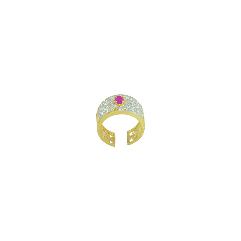 Gold plated AD Studded Cluster Ring In Pink Color