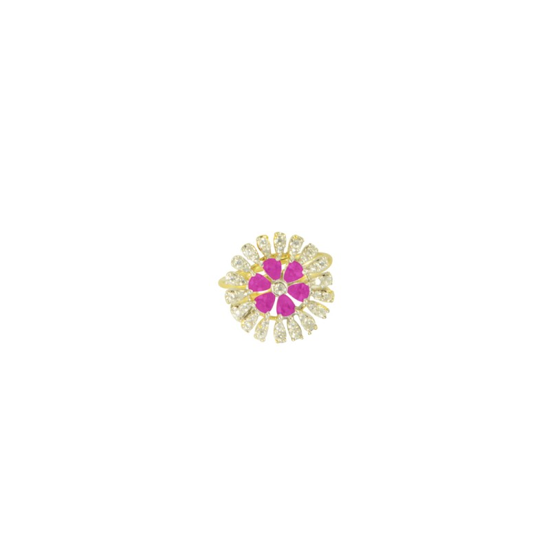 Antique Gold Plated AD Ring In Pink Color