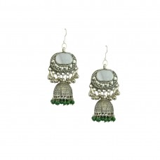 Oxidized Silver Plated Earring With Multiple Green Pearls