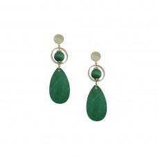 Wooden Designer Drop Dangler Earring In Green Color