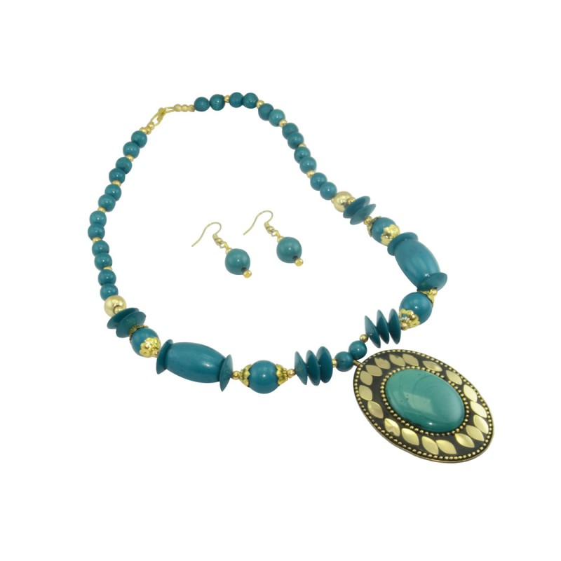 Designer Beaded Pendent Set For Women In Sea Blue Color