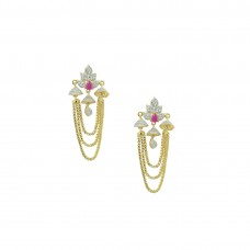 Ad Studded Dangler Earring In Pink Color For Women