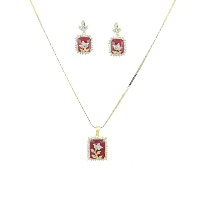 Designer AD Pendant Set In Red Color