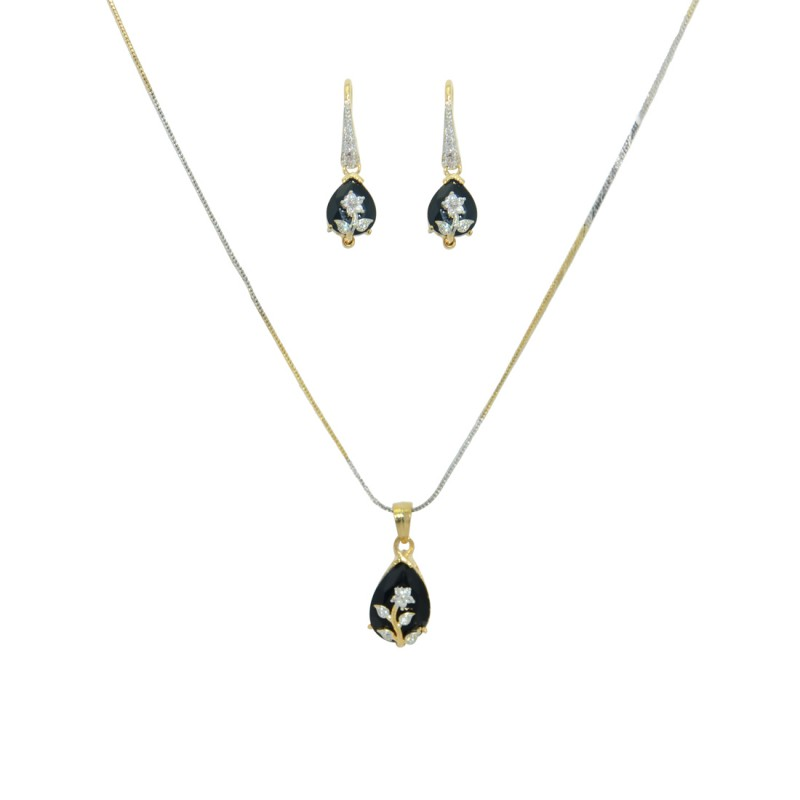 Designer Gold Plated AD Pendant Set In Black Color