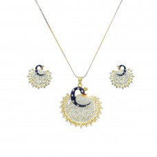 Gold Plated AD Studded Pendant Set In Peacock Shape