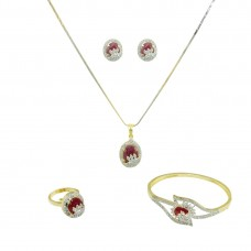 Gold Plated AD Studded Pendant  Set In Maroon Color