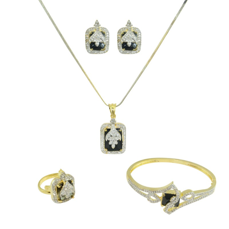 Designer Gold Plated AD Studded Pendant Set In Black Color