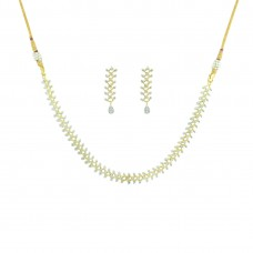 AD Gold Plated Necklace Set With Earring
