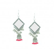 Oxidized Designer Jhumki Earrings In Red Color