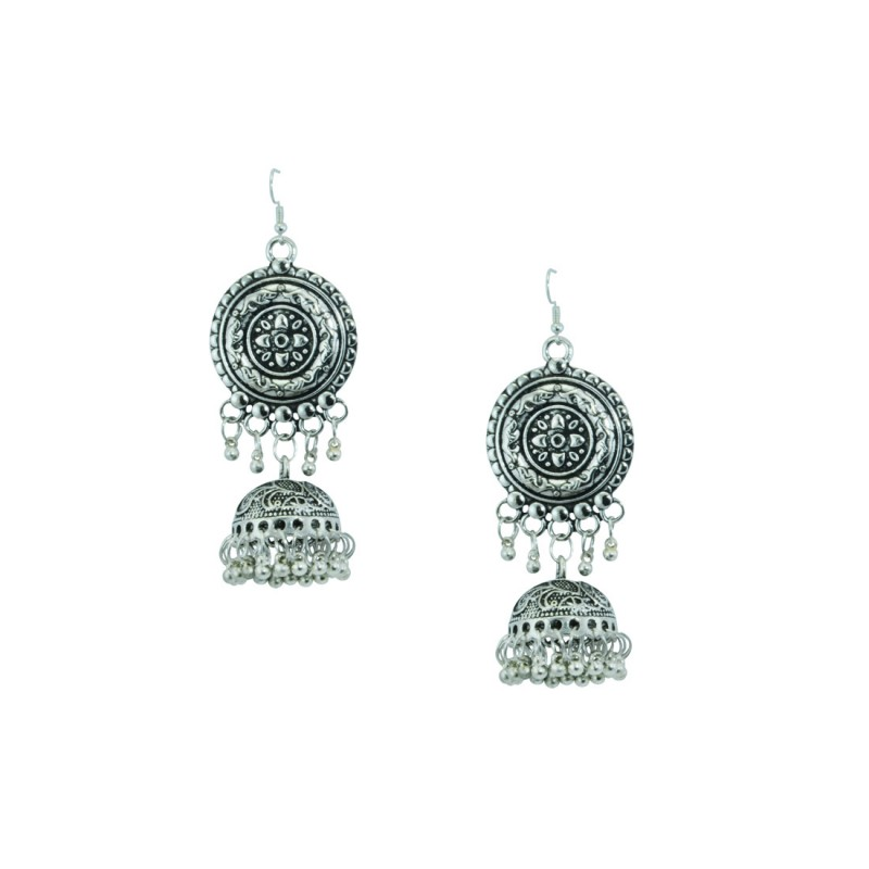 Silver Toned Oxidized  Earrings