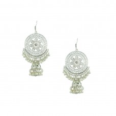Silver Toned Oxidized  Chandbalis Earrings