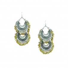 Oxidized Double Chandbalis Earrings With Golden Pearls