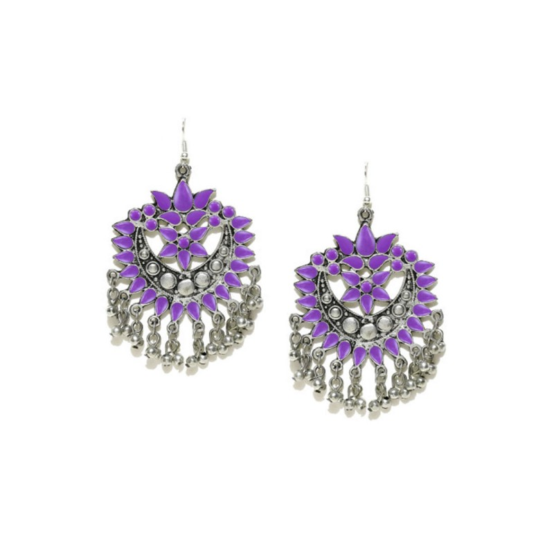 Silver Plated Oxidized Chandbalis In Purple Color