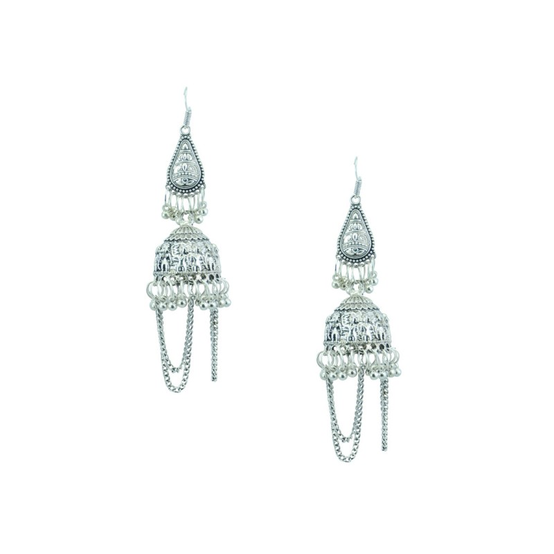 Silver Toned Designer Jhumki With Drop Chain