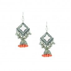 Designer Sliver Plated Dangler In Orange Color