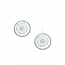 Designer Silver Plated Hoops Earrings With Multiple Pearls
